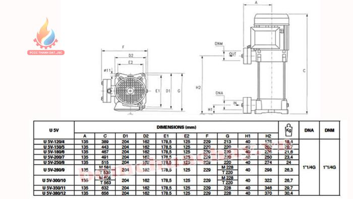 Máy bơm bù áp Pentax U5V -200/7T