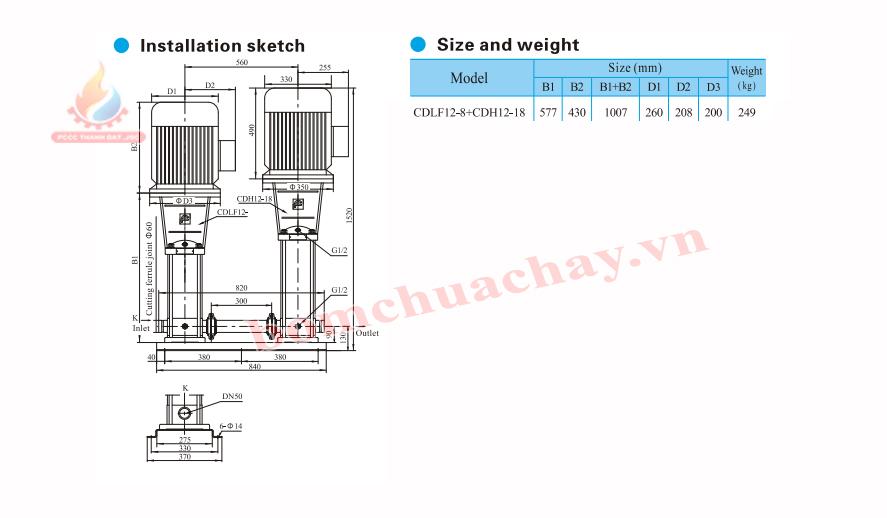 Máy bơm bù áp CNP CDLF12-8 7.5HP