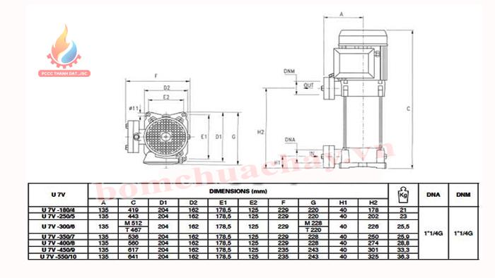 Máy bơm bù áp Pentax U7V-350/7T 3.5HP