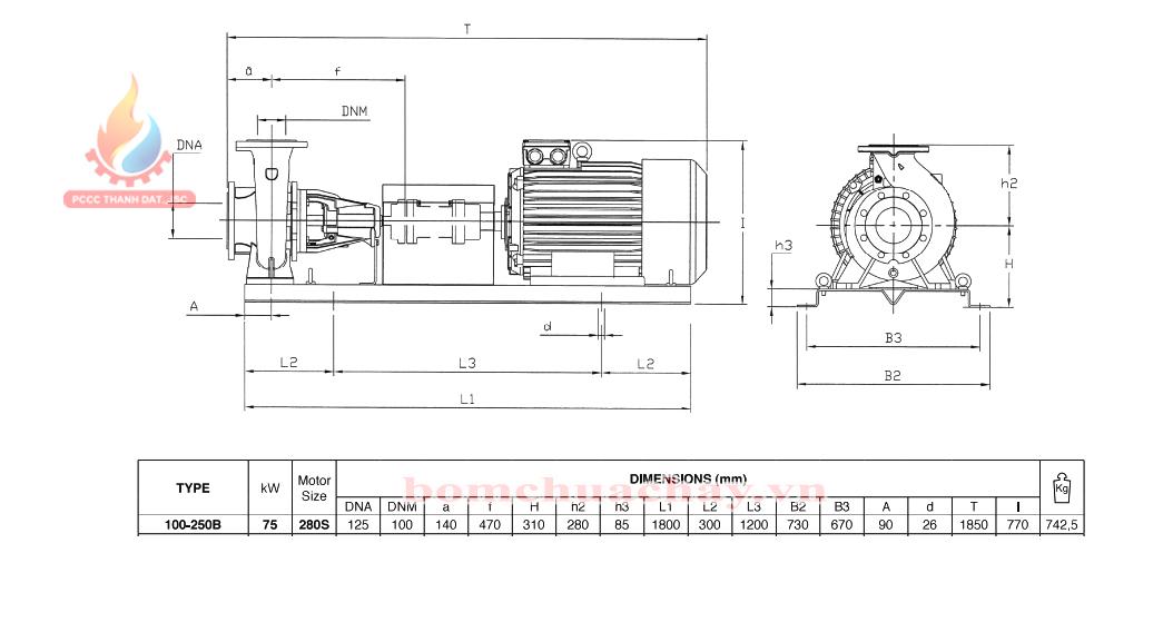 Máy bơm chữa cháy trục rời Pentax CA 100-250B 100HP