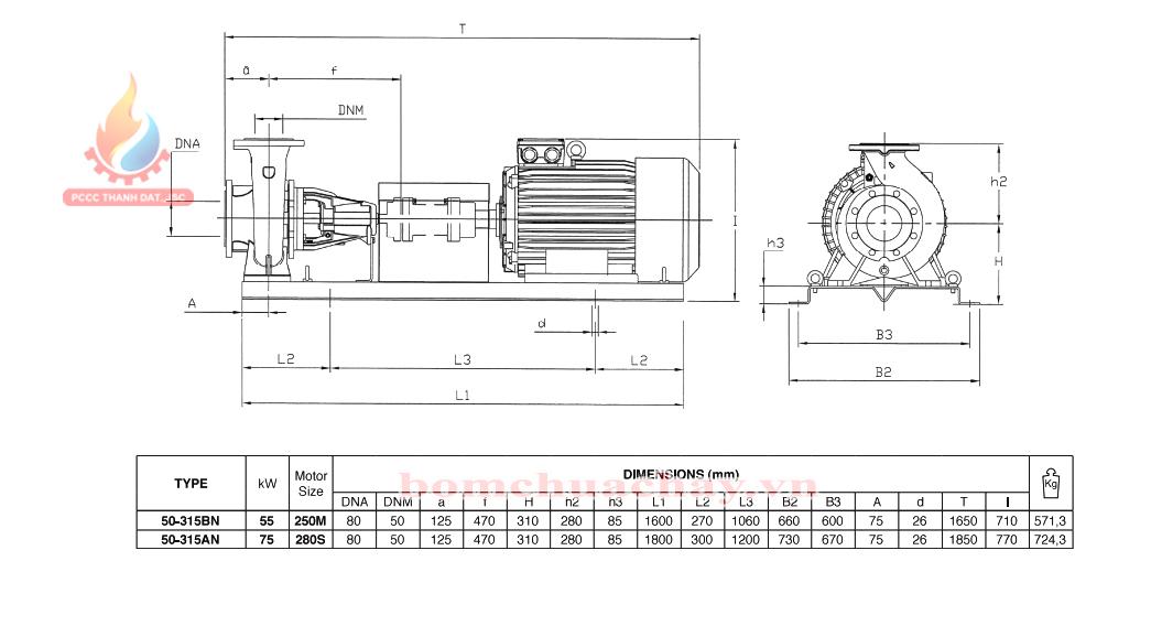Máy bơm chữa cháy trục rời Pentax CA 50-315BN 75HP
